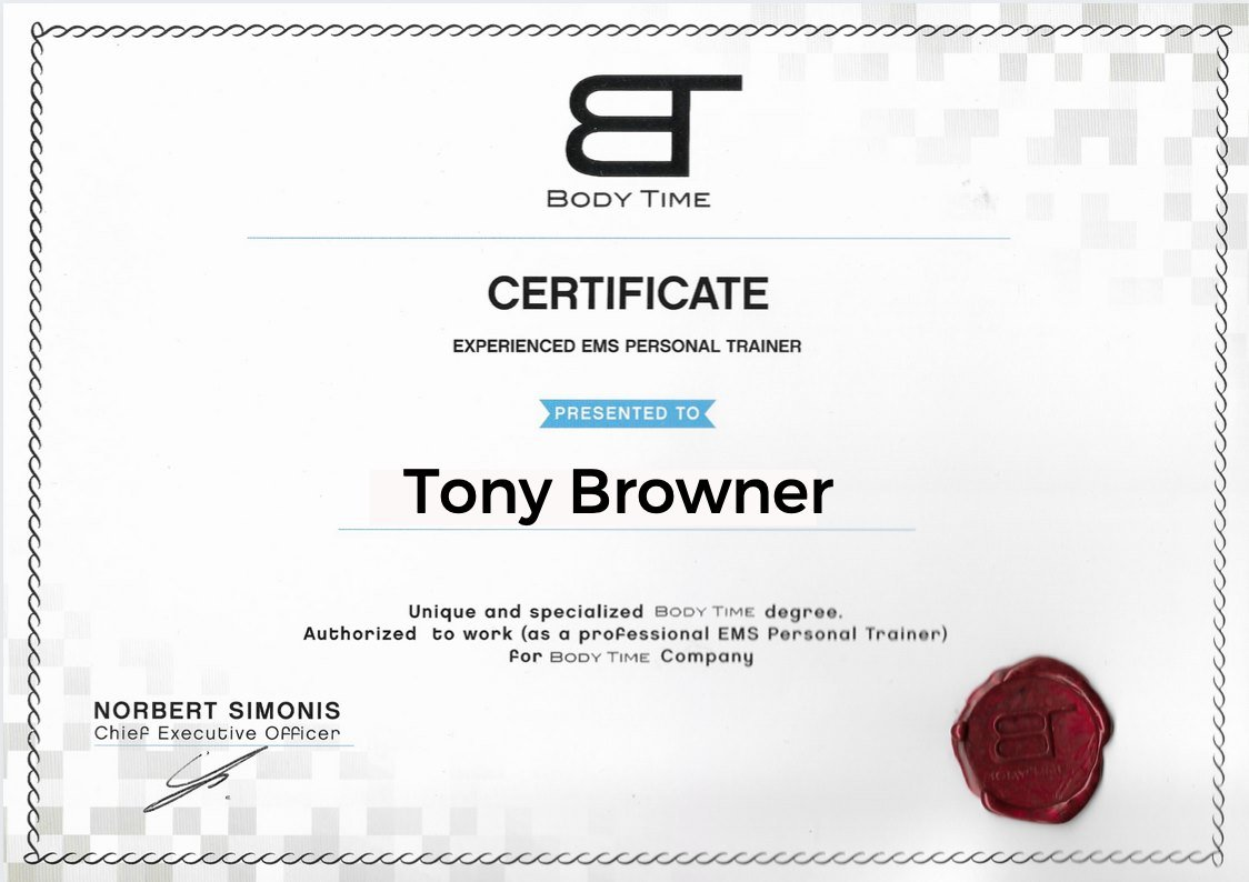 Certificate-Body-Time-EMS-Personal-trainer